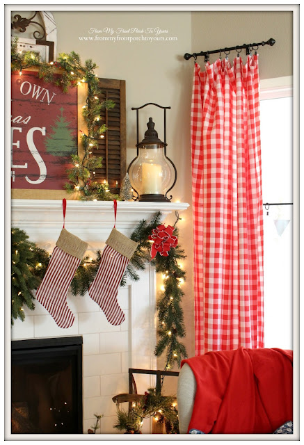 Farmhouse Christmas Mantel-Red Check Curtains-Carriage House Lantern-Decor Steals-Table Cloth- From My Front Porch To Yours
