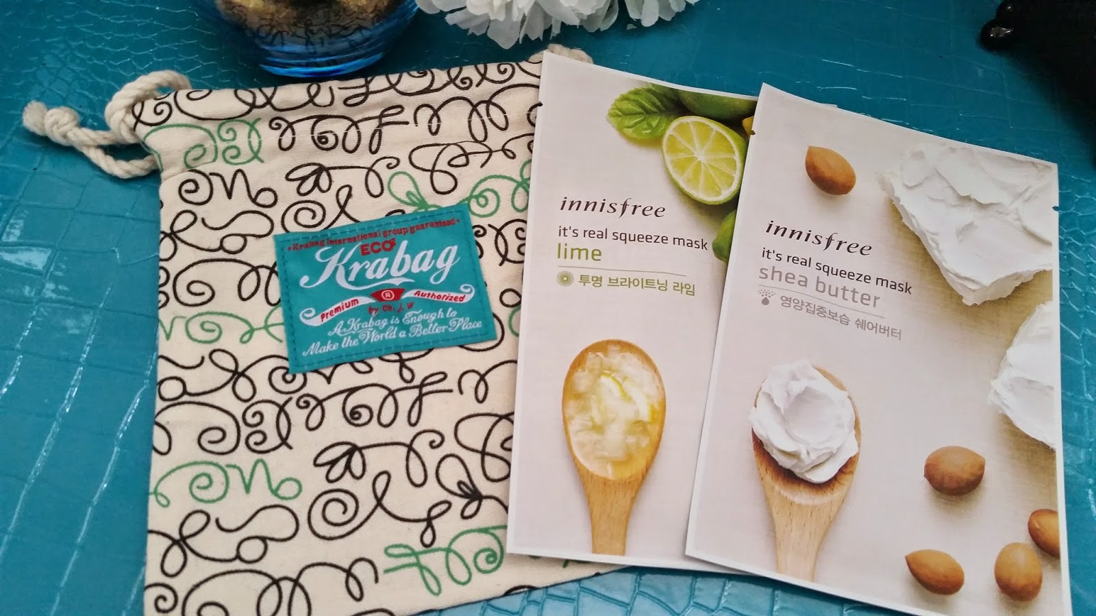 Innisfree Eco Krabag, It's Real Squeeze mask in lime and Shea Butter