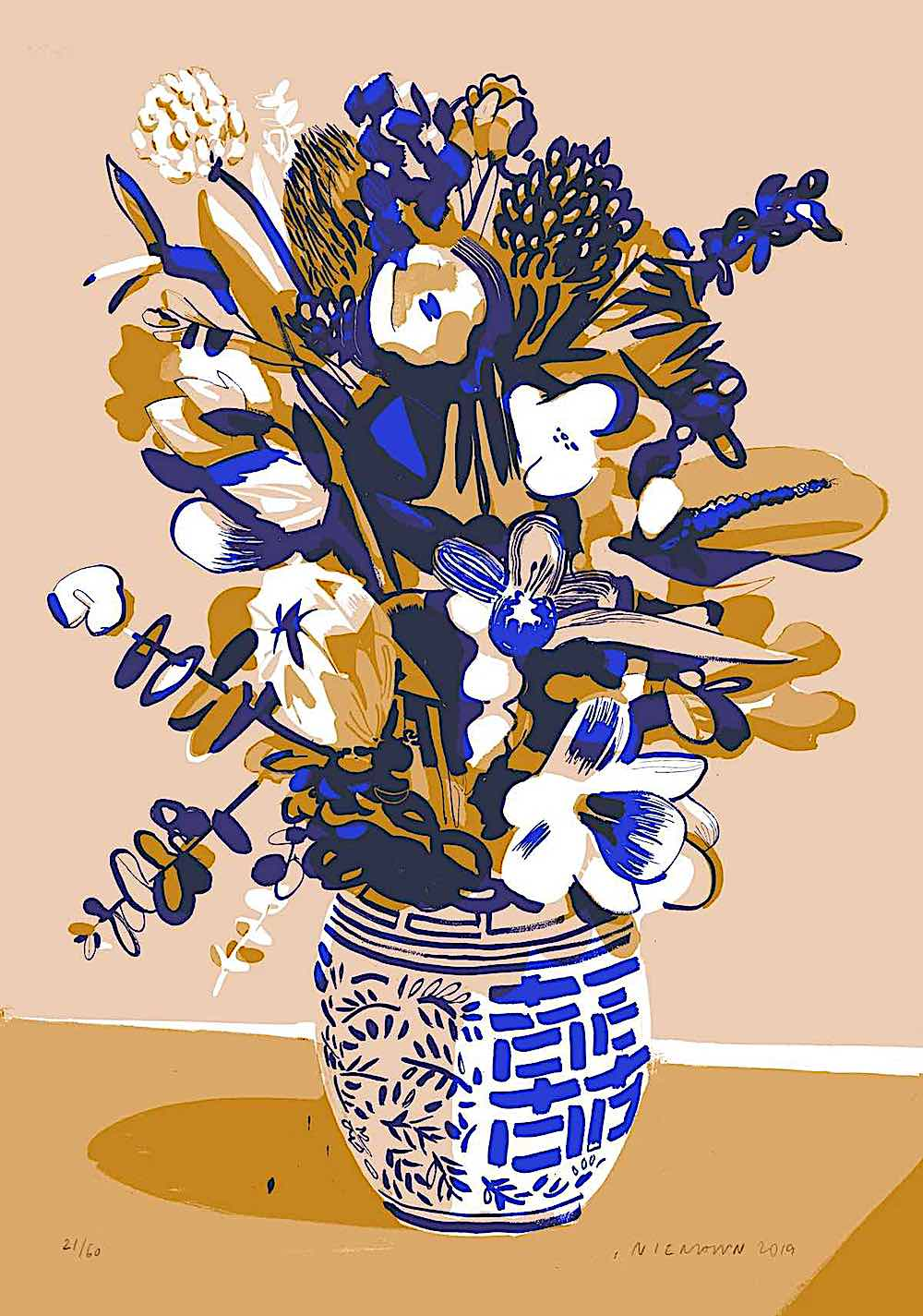 Christoph Niemann art, flowers in a vase in blue and tan colors