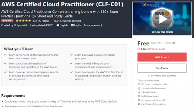 [100% Off] AWS Certified Cloud Practitioner (CLF-C01)| Worth 129,99$