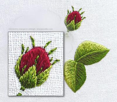 Shadows added to needlepainted rosebud sepals