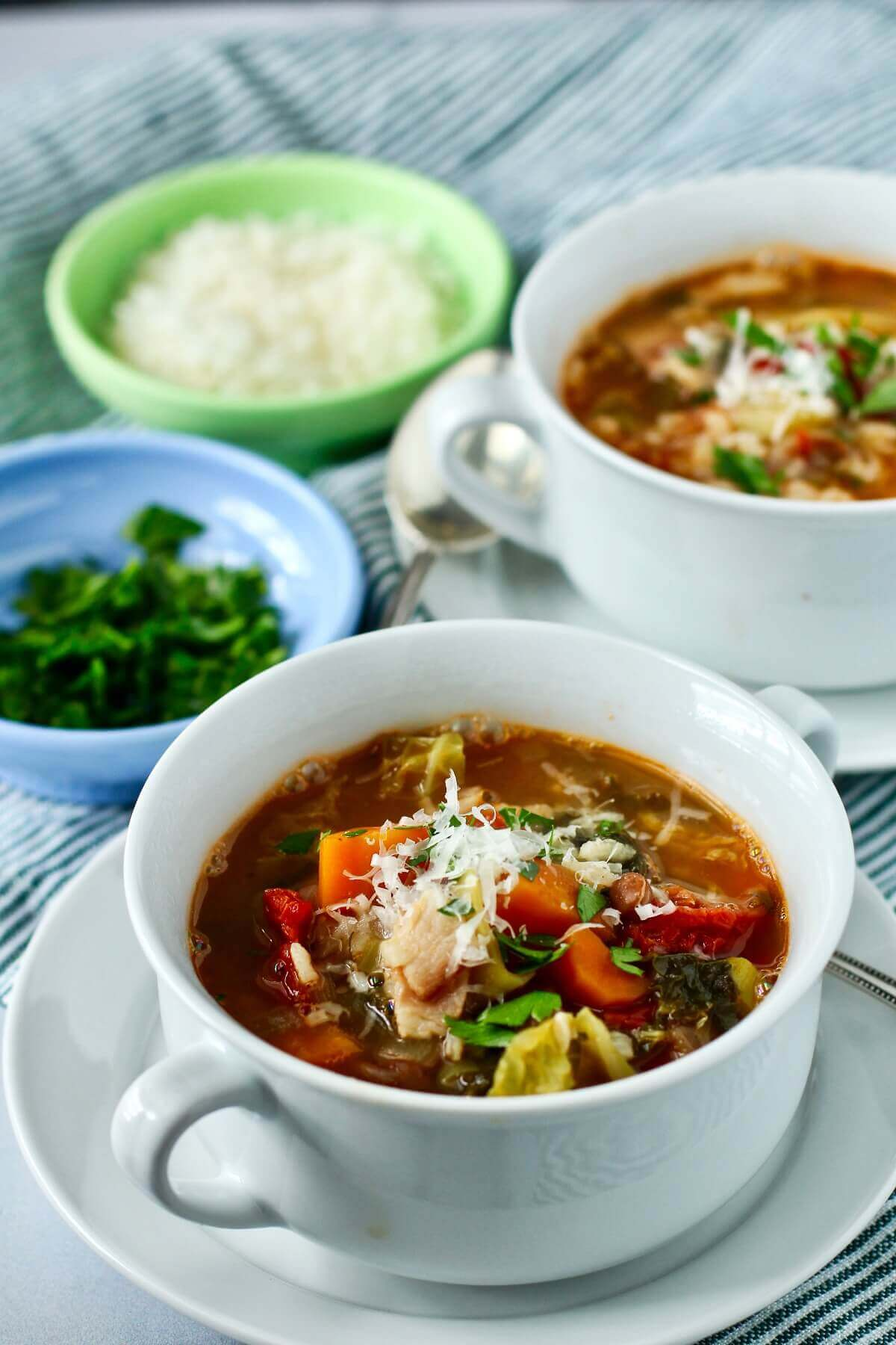 Ticinese Minestrone soup with Savoy cabbage