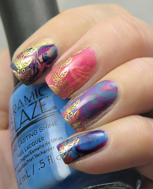 Nail Art: Watermarble for #31DC2016 // Gold Accented Skittle Marble ...