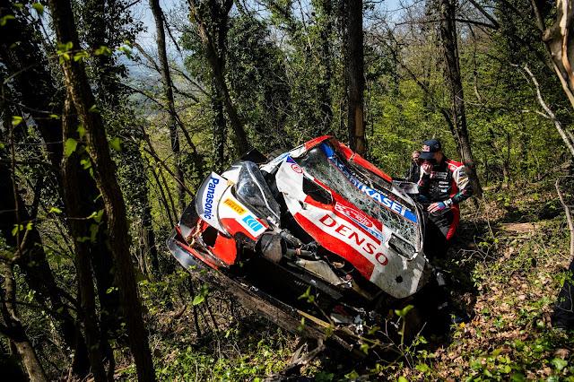 Toyota rally car crash Kalle rovanpera crashed car