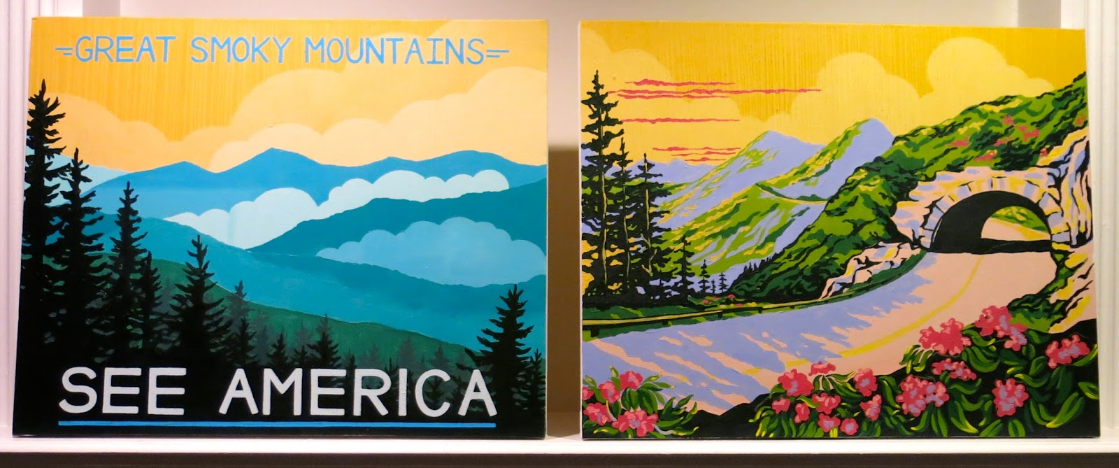 DIY WPA Inspired Smoky Mountain Paintings