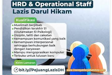 Lowongan Kerja HRD & Operational Staf Lazis Darul Hikam