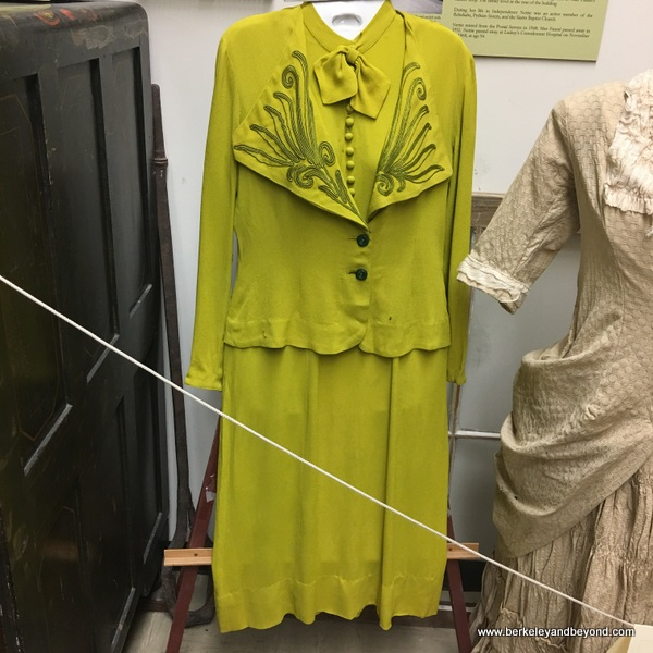 Amelia Earhart's green dress displayed at Eastern California Museum in Independence, California