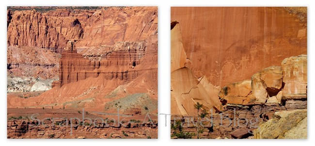 Chimney Rock and Pictographs at Capitol Reef National Park