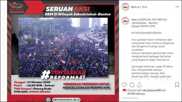 BEM SI Demo di Istana 17 Oktober, Desak Jokowi Terbitkan Perppu KPK
