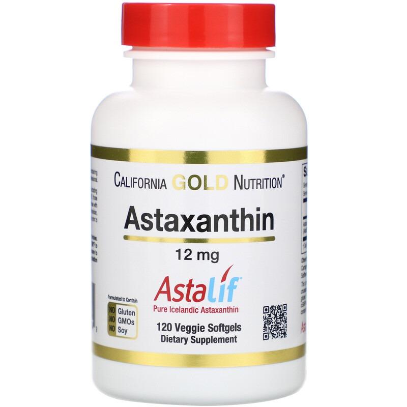 California Gold Nutrition, Астаксантин, чистый исландский AstaLif, 12 мг, 120 растительных мягких таблеток