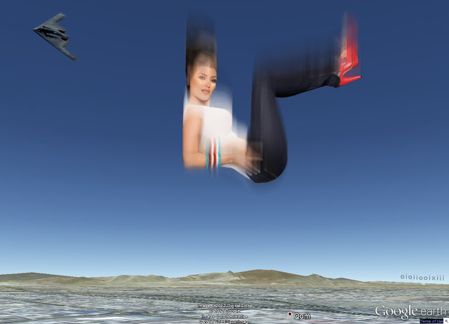 Image shows Kim Kardashian in jeans, white t-shirts, and red high-heel shoes, falling towards Iran, after being dropped from a B-2 stealth bomber