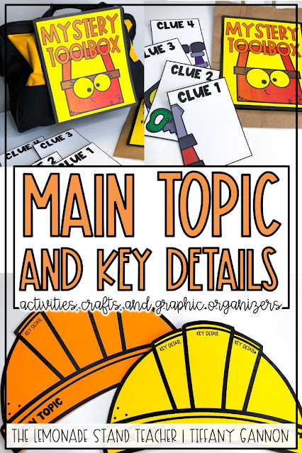 Main topic and key details anchor chart, activities, and crafts for first grade and 2nd grade.