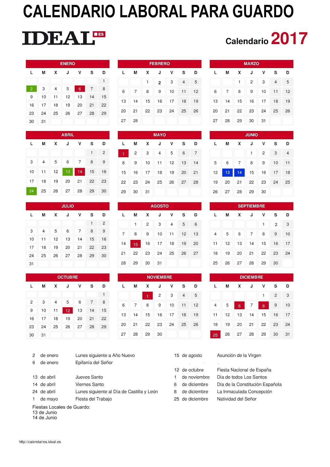 Calendario laboral 2017 para guardo for Calendario laboral leganes 2017