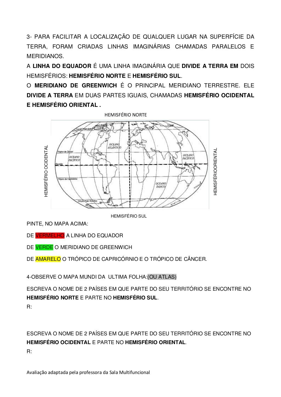 Exercícios Sobre Hemisférios