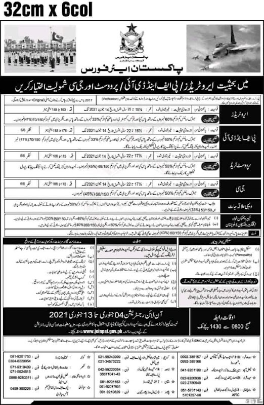 Latest Job Pakistan Air Force As Provost PAF Police 2021