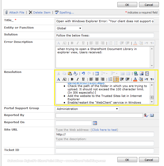 richtext toolbar in sharepoint multiline text column