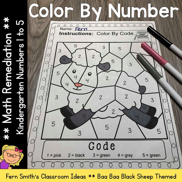 Color By Number Kindergarten Numbers For Math Remediation Numbers 1 to 5 with an adorable Baa Baa Black Sheep theme. If you are looking for a resource for math remediation to still giving your students some confidence while reviewing important math skills, you will love this series. These five Color By Number Kindergarten remediation worksheets focus on Numbers 1 to 5 with a cute Baa Baa Black Sheep theme. As always, answer keys are included. #FernSmithsClassroomIdeas