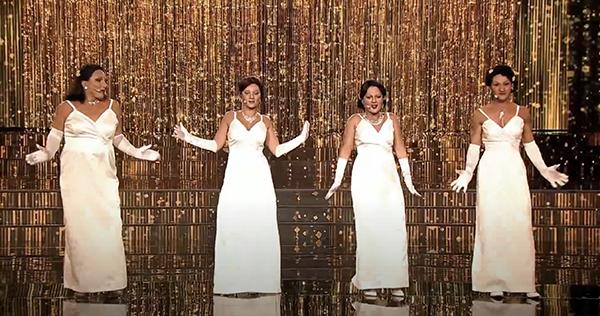 Czadoman, Marta Gałuszewska, Filip Gurłacz and Gosia Andrzejewicz (boy, girl, boy, girl) femulating Sister Sledge on Polish television's Twoja Twarz Brzmi Znajomo.