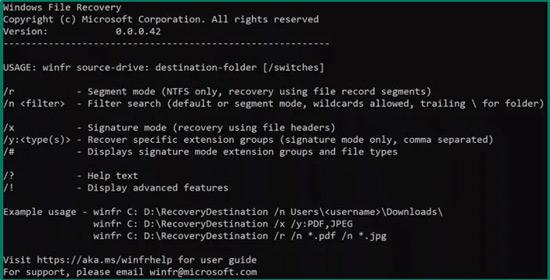 استرجاع الملفات Winfr