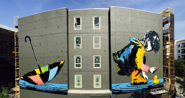 Wallingford a neighborhood in north central Seattle is now home to a massive new piece by BumbleBee which was just finished a few days ago.
