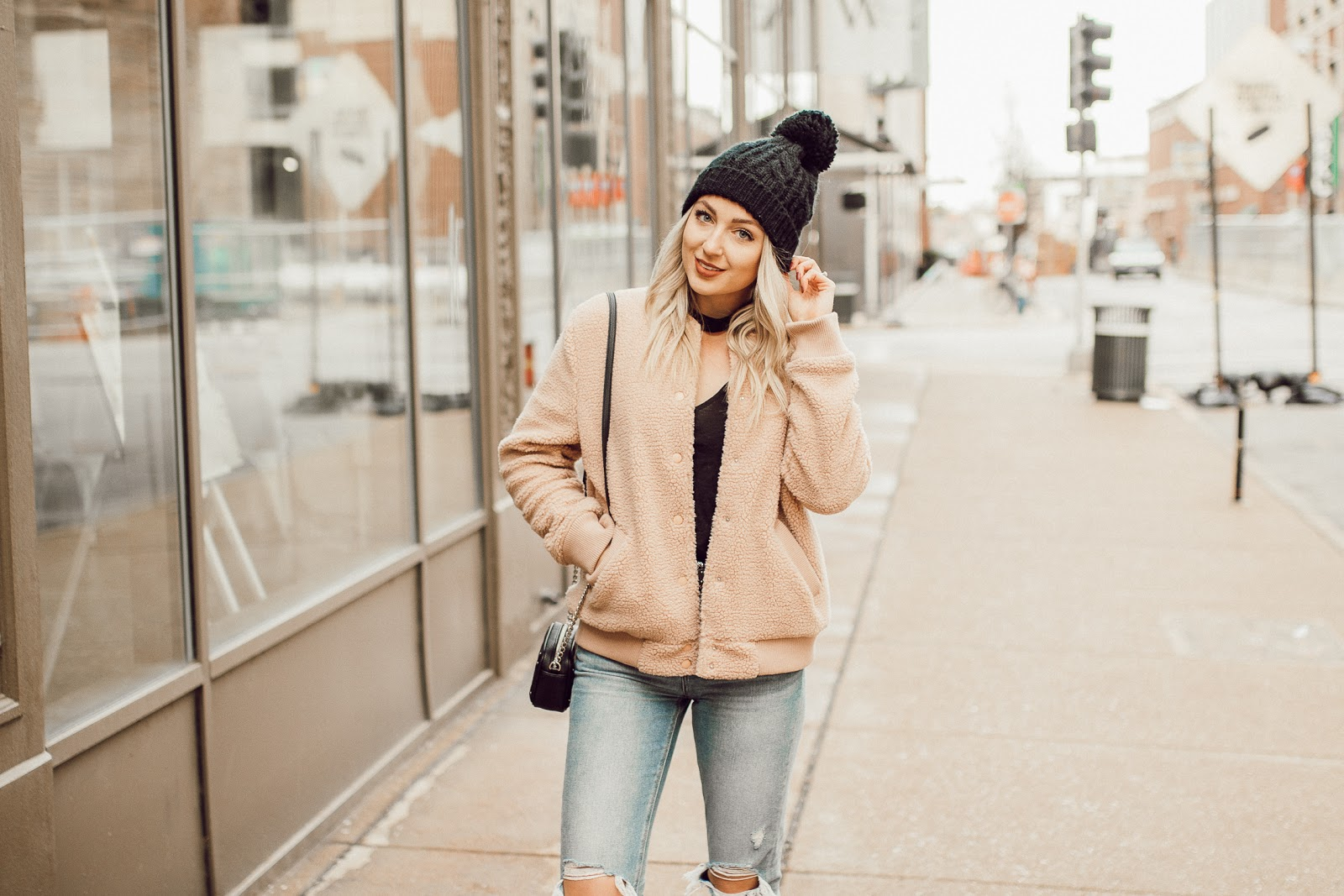 blush pink winter jacket