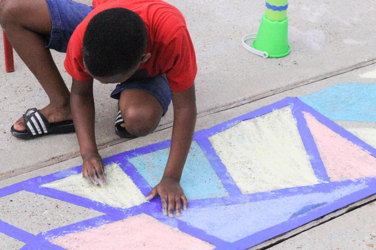 Sidewalk chart art with painters tape