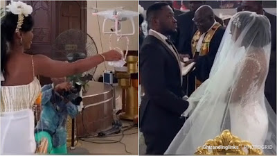 Hilarious Moment: DJI Phantom Drone Delivers Expensive Ring during Despites Son Osei Kennedy and Tracy's White Wedding_ VIDEO