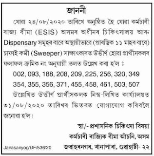 Assam ESI Scheme Sweeper Result 2020: Check Interview Result