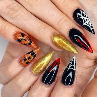 Spider Web Nails Design for Hallowen