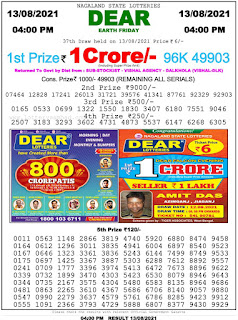 Nagaland State Lottery Result Today 13.8.21,4PM