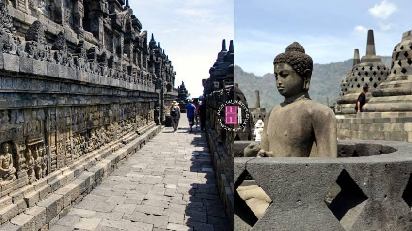 Borobudur: bassorilievi e statue di Buddha sigillate in stupa a campana.