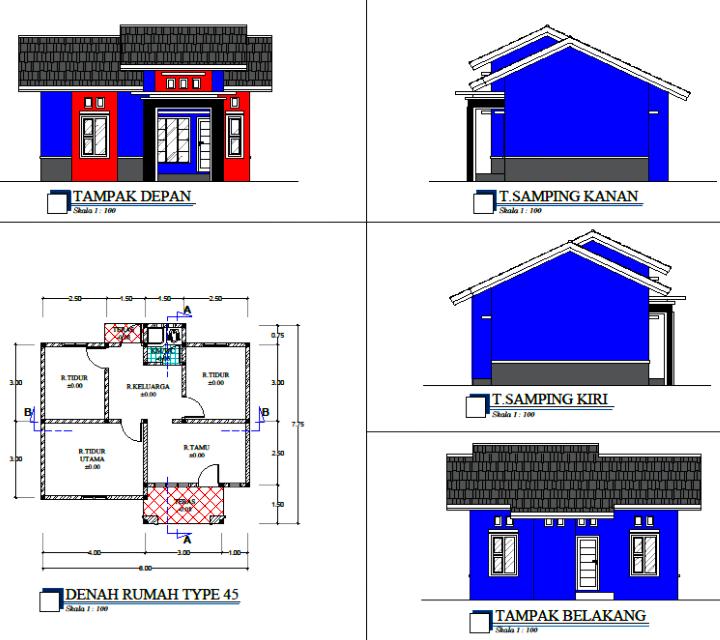 Sketsa Desain Rumah Minimalis Tampak Depan Samping Belakang!