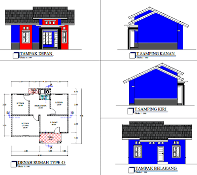 contoh rumah minimalis tampak depan dengan denah