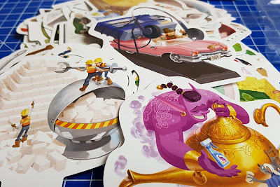 One Key Family Game Review example Clue Cards with genie headphones