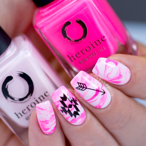 Fun Pink Marbled Nail Art With Boho Designs For The Breast Cancer