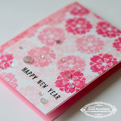 Close up of pink monochromatic stamped handmade card for chinese new year using altenew crisp inks and inkadinkado stamps
