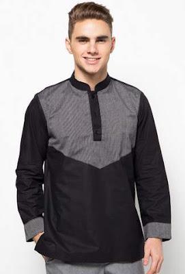 Baju muslim lebaran pria terbaru warna hitam elegan