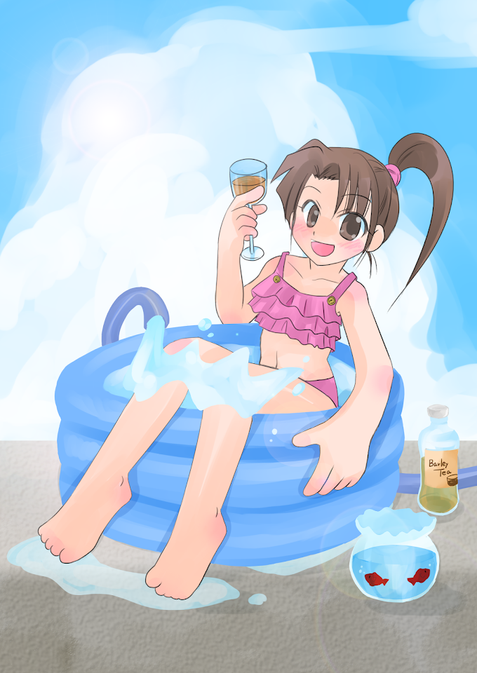ビニールプールで水遊びしている水着の女の子のイラスト。