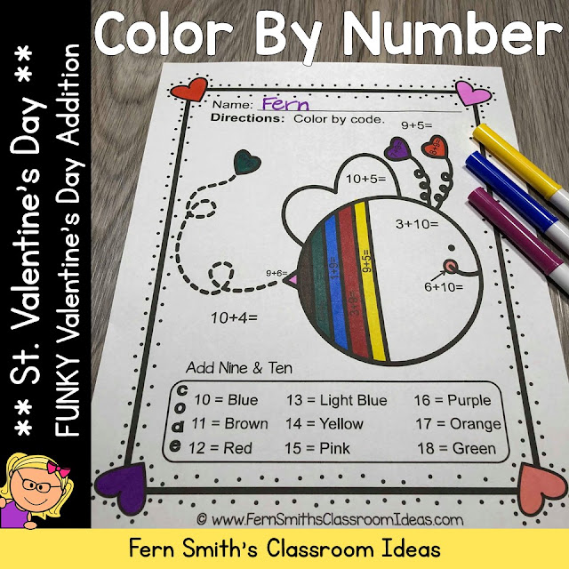 You will love the no prep, print and go ease of these 5 St. Valentine's Day Color By Number Addition printables. My FUNKY SERIES, the students can't predict the answers and they love the colorful finished product they get to take home!
