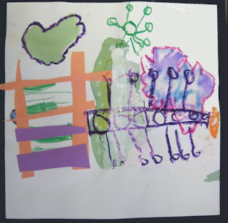 Preschool drawing of a dog party