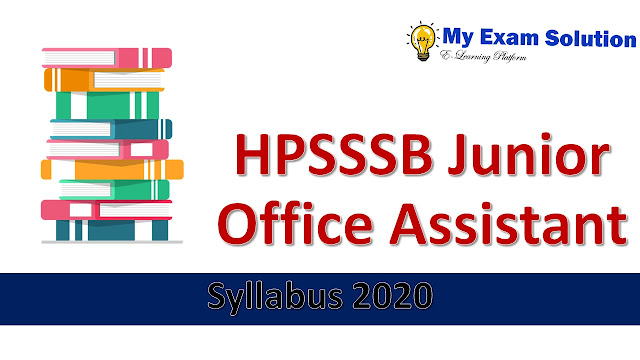 HPSSSB Junior Office Assistant Syllabus 2020