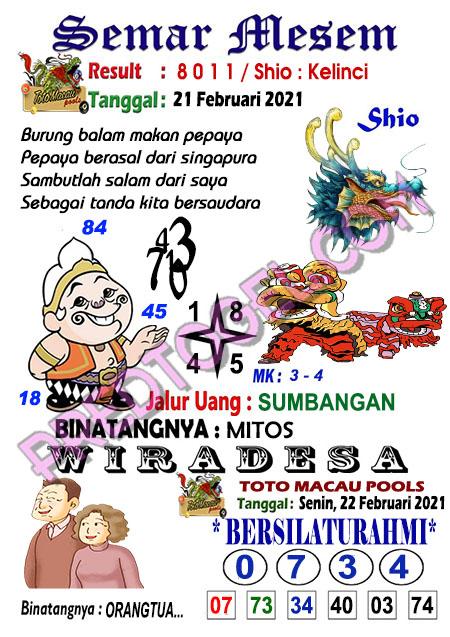 Syair Toto Macau Semar Mesem Senin 22 Februari 2021