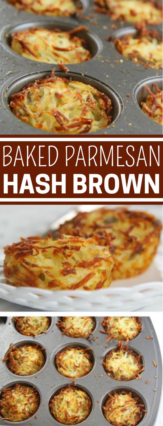 Baked Parmesan Hash Brown #easy #breakfast #appetizers #lunch #potatoes