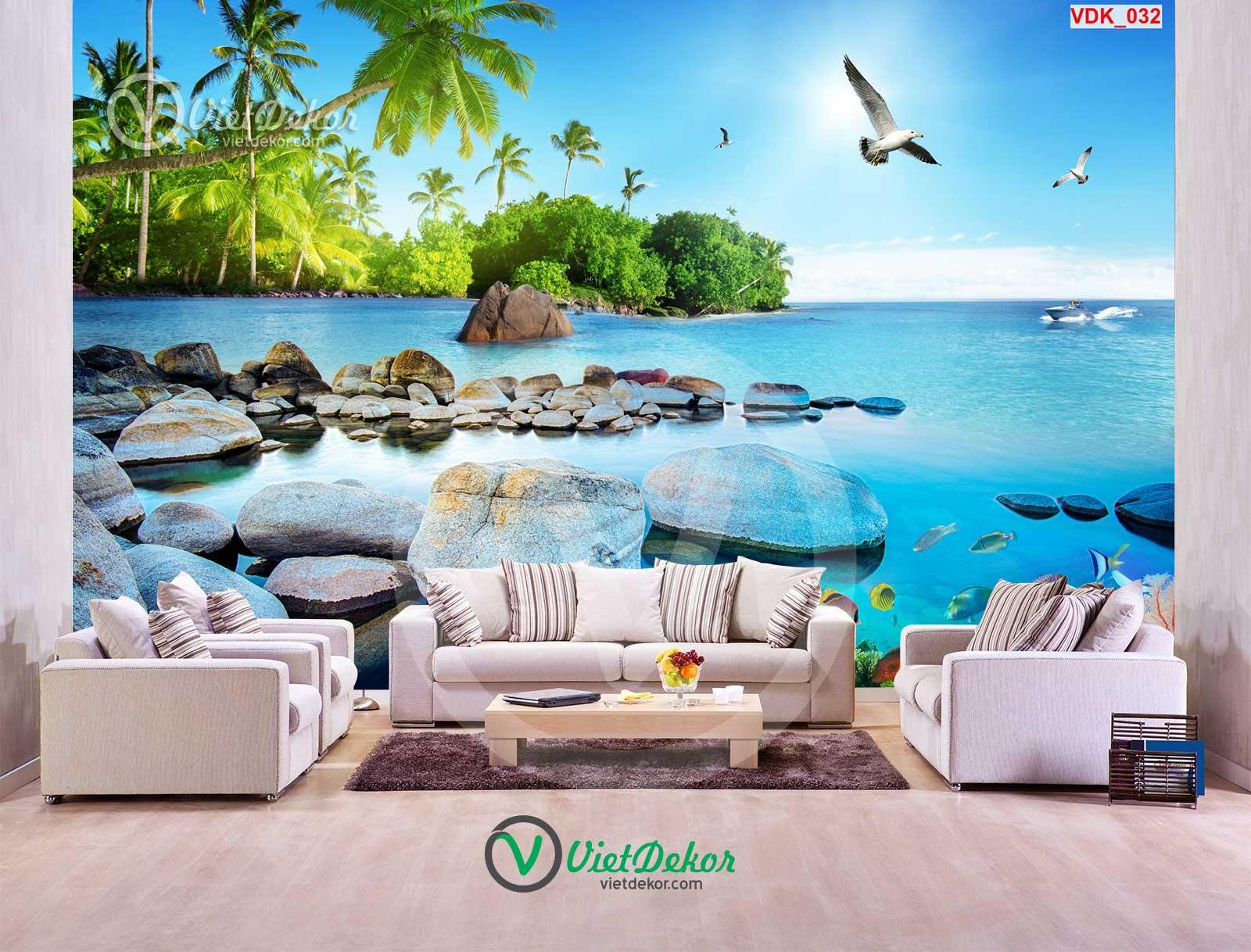 Tranh dán tường 3d phong cảnh bãi biển rừng cây