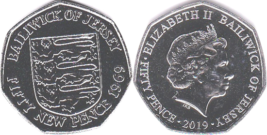 Jersey 50 pence 2019 - 50th Anniversary of the 50 pence coin