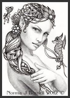 Fairy Tangles Rayne Fairy Tangle ACEO Mermaid Drawing