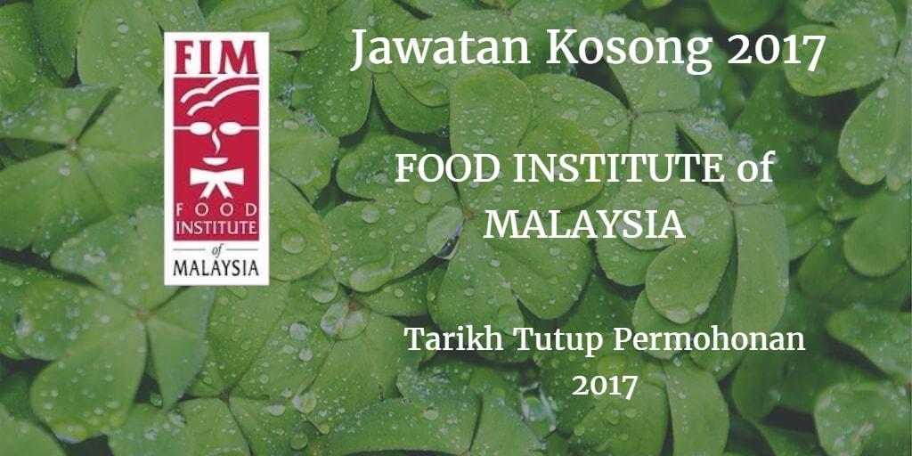 Jawatan Kosong FOOD INSTITUTE of MALAYSIA 2017