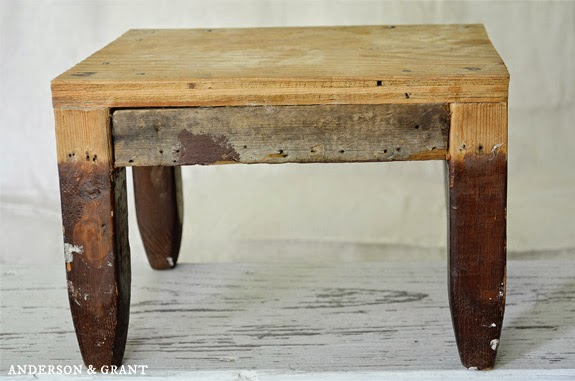 Rustic wood footstool