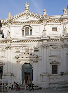 The facade of the Chiesa di San Salvador  in Venice, where Caterina was buried