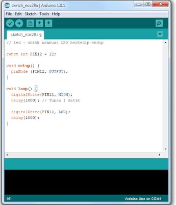 Cara Membuat Sketch di Arduino IDE dan Mencobanya